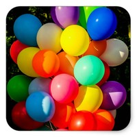 Colorful Toy Balloons Square Sticker