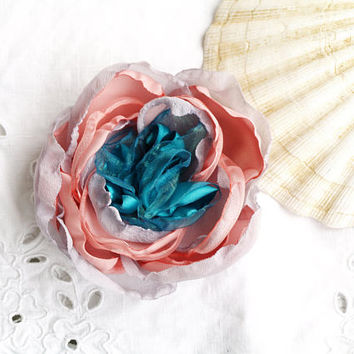 Silk flower brooch, Fabric flower Floral hair piece, Pale pink, Summer hair clip, Turquoise pink brooch, Mulicolor head piece, Gift for her