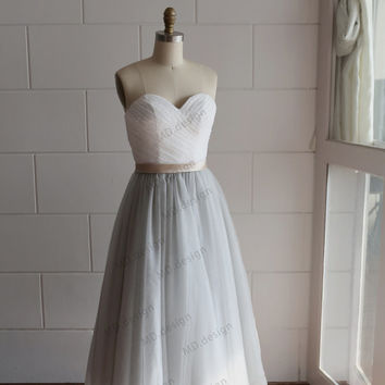 Best grey tulle dress products on wanelo for Silver tea length wedding dresses
