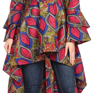 Sakkas Mavi Women's African Ankara Maxi Long Sleeve Dress Cocktail Formal Swing