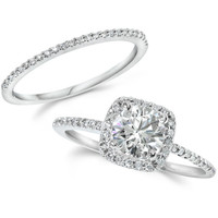1.25CT GIA Certified Diamond Engagement Ring Set Cushion Halo Matching Wedding Band 14 KT White Gold