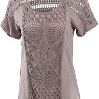 Boho Crochet Detail Cotton Top