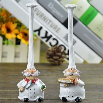 New 2 PCS Kitchen Table Shelf Long Hat Chef Figure Statue Ornaments Home Decor Small