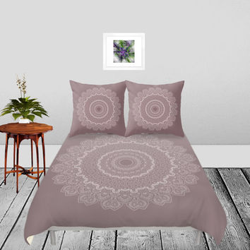 Duvet Cover - 4 different sizes to Choose From, Without Inserts, Bedroom, Home, decor, Romantic, Gift, Pink, Mauve, Mandala, Boho, Hippie
