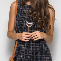 Tweed Shift Dress - Navy