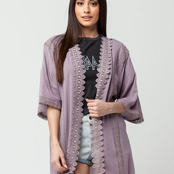 GOOD LUCK GEM Crochet Trim Womens Kimono