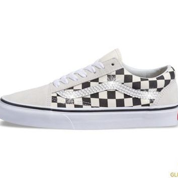 Women's Vans Checkerboard Old Skool + Crystals - White/Black