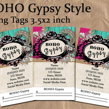 BOHO Gypsy Style | Product Hang Tag | Business Card Style |  Custom Design and Printing | 3.5 x 2 in | Sales Tags | Record Keeping