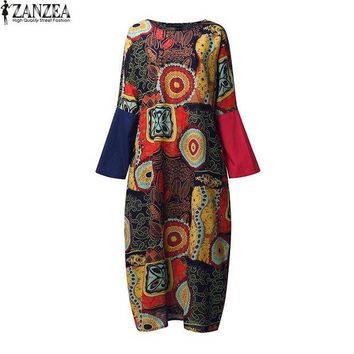 PEAP78W ZANZEA Retro 2017 Spring Womens Crew Neck Random Floral Batwing Sleeve Kaftan Casual Party Boho Baggy Maxi Long Dress