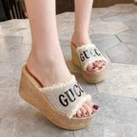 GUCCI Fashion Summer new rhinestone diamond letter thick bottom fish mouth women shoes slippers Beige