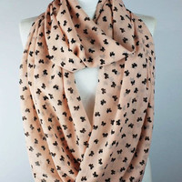 pink bow scarf,infinity scarf, scarf, scarves, long scarf, loop scarf, gift