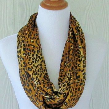 Gold Leopard Print Infinity Scarf, Women's Silky Scarf, Circle Scarf, Loop Scarf, Eclectasie