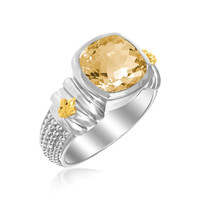 18K Yellow Gold & Sterling Silver Fleur De Lis Ring with Cushion Citrine Accent: Size 7