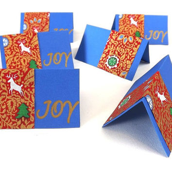 6 Christmas Place Cards, Blue JOY Place Setting Tent Cards, Party Table Decor, Bag Toppers, Gift Tags