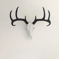 CHOOSE COLOR Faux Deer Skull Wall Mount //  Faux Taxidermy // White Deer Head / Animal Wall Statue / Faux Antlers Decor / Mounted Deer Skull