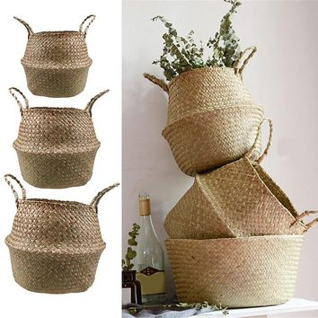 S/M/L Rattan Basket Foldable Flower Pot Wicker Storage Basket Woven Seagrass Dirty Laundry Basket Hamper Home Decor zeegras mand