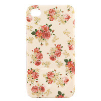 Vintage Flower Pattern Stylish Hard Case for iPhone4G (White)