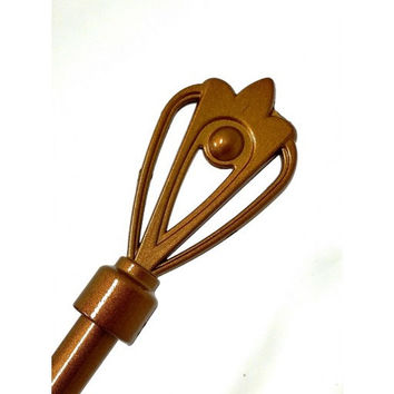 Adjustable Metal Curtain Rods With Crown Staff Finial- Esty- Gold