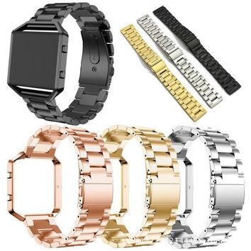 LMFCE6 Replacement Stainless Steel Chain Link Bands with Metal Frame for Fitbit Blaze [11902710927]