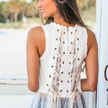 White Babydoll Top with Lace Up Back