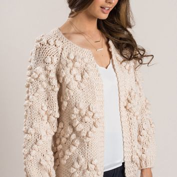 Heather Cream Pom Pom Chunky Knit Cardigan