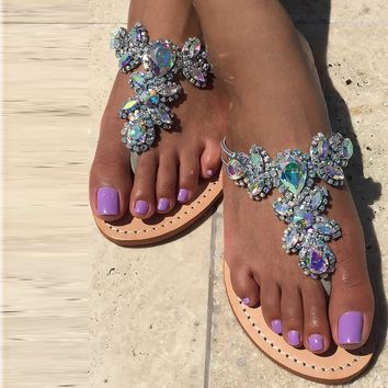 Bohemian Shinning Rhinestone Flat Thong Slippers Sandals