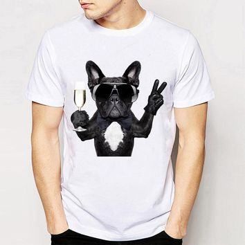 French Bulldog With Wine Glass - Dogs/Drinking Unisex T-shirt