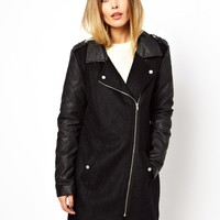 Vero Moda | Vero Moda Quilted Leather Look Biker Coat at ASOS