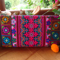 Embroidered Flower Cotton Wallet Purse Pom Pom Ethnic Hippie Ibiza Gift Festival | eBay