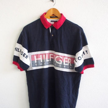 BIG SALE 25% Vintage Vtg TOMMY Hilfiger Sailing Gear Jeans Streetwear 90's Big Logo Polo Shirt Blue Hip Hop Size Xl