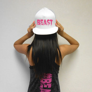 BEAST Hat. Beast Workout Snapback Hat. Flat Bill Cap. Snapback Hat. Cross Training Hat. Gym Headwear. Strong Girl Hat