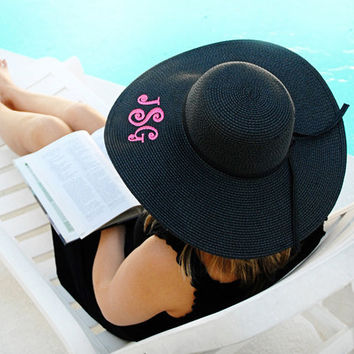 Personalized Black Floppy Sun Hat - Monogrammed