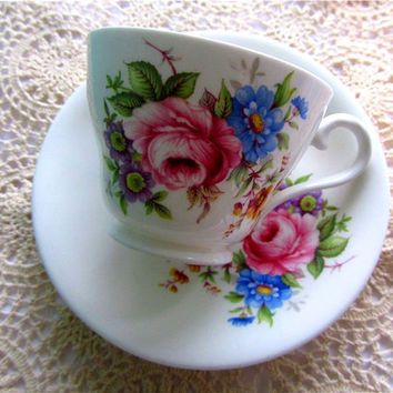 Vintage Tea cup and saucer 50's 1950's English by TheDorothyDays