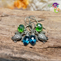 Sea Turtle Earrings made in Hawaii, Hawaiian jewelry by Mermaid Tears - HONU
