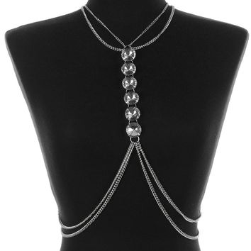 Chunky Glass Stone Necklace And Body Chain 62