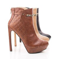 Lavania20 By Wild Diva, Pointy Toe Quilted Platform Stiletto Heel Ankle Bootie