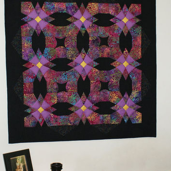 Wall hanging quilt Black Pond by GaliaK on Etsy