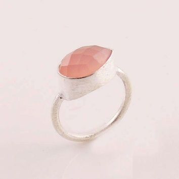 Rose Quartz - Pretty in Pink - Sterling Silver Ring - keja jewelry