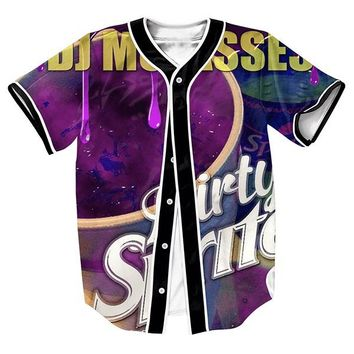 Dirty Jersey with buttons Hip Hop Men's shirts 3d print Streetwear baseball shirt  tops sweat shirt Casul fashion Tees