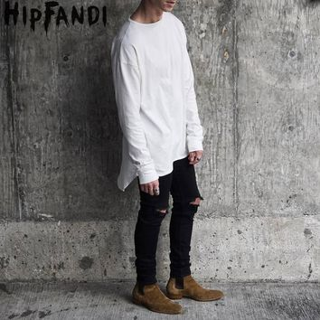 2018 Hipster Men Justin Bieber Clothes Streetwear Brand Clothing Kanye West Long Sleeve Plain Extended Curved T Shirt