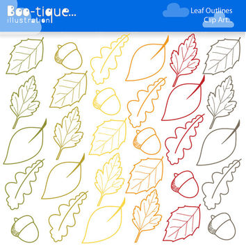 Fall Leaves Digital Clipart. Autumn Clipart. Leaf Outlines Clipart. Acorn Clipart. Commercial Use. Autumn Leaves Clip Art. Fall Clip Art.