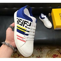 Fendi 2019 new high-end breathable stitching wild sports shoes white