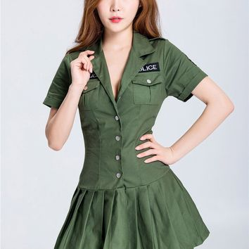 MOONIGHT Woman Green Police Costume Halloween Party DS Performance Clothing Adult Carnival Costume