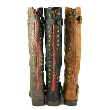 Bamboo Montage-83 Black, Brown, Chestnut, Taupe Knee-High Riding Boot Back-Studs | Shoetopia.com