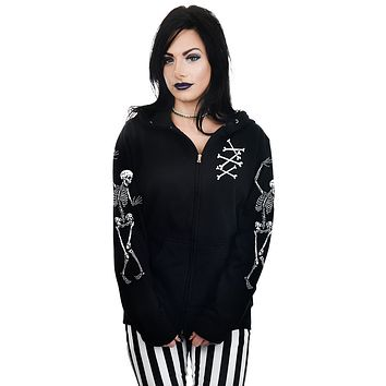 Spooky Night Skeleton Dance Black Zip Hoodie