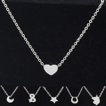 Fnixtar Stainless Steel Small Love Cute Heart Star Moon Fishtail Horseshoe Pendant Chain Necklace Women Jewelry Gift 5piece/lot