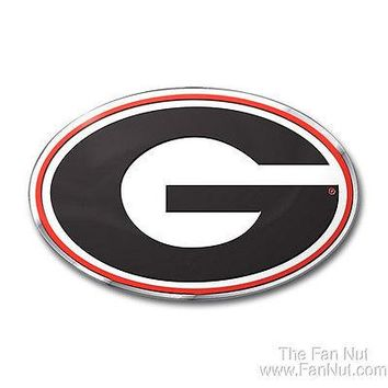 Georgia Bulldogs 3D COLOR Raised Chrome Auto Emblem Home Decal University of
