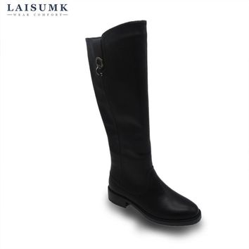 2017 LAISUMK Women Vintage Buckle Leather Knee High Boots Zip Women Riding Winter Snow Boots Square Heel