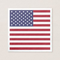 Patriotic paper napkins with flag of USA