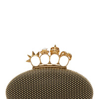 Alexander Mcqueen Black Studded Leather Knuckle Box Clutch